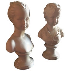 Vintage Pair of Italian Borghese Busts of a Boy and Girl in Matte White Ceramic