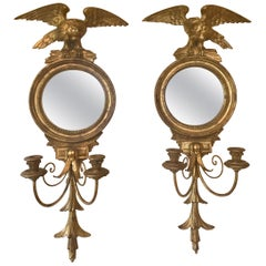 Vintage Pair of Italian Carved Giltwood Mirrored Eagle Sconces