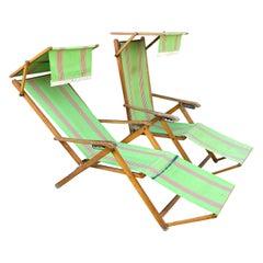 Vintage Pair of Italian Folding Beechwood Sun Beach Chairs by Brevetti Reguitti