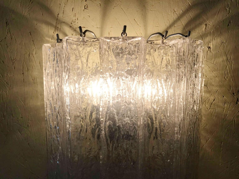 Vintage Pair of Italian Sconces w/ Clear Rectangular Murano Glass Cubes, 1960s For Sale 7
