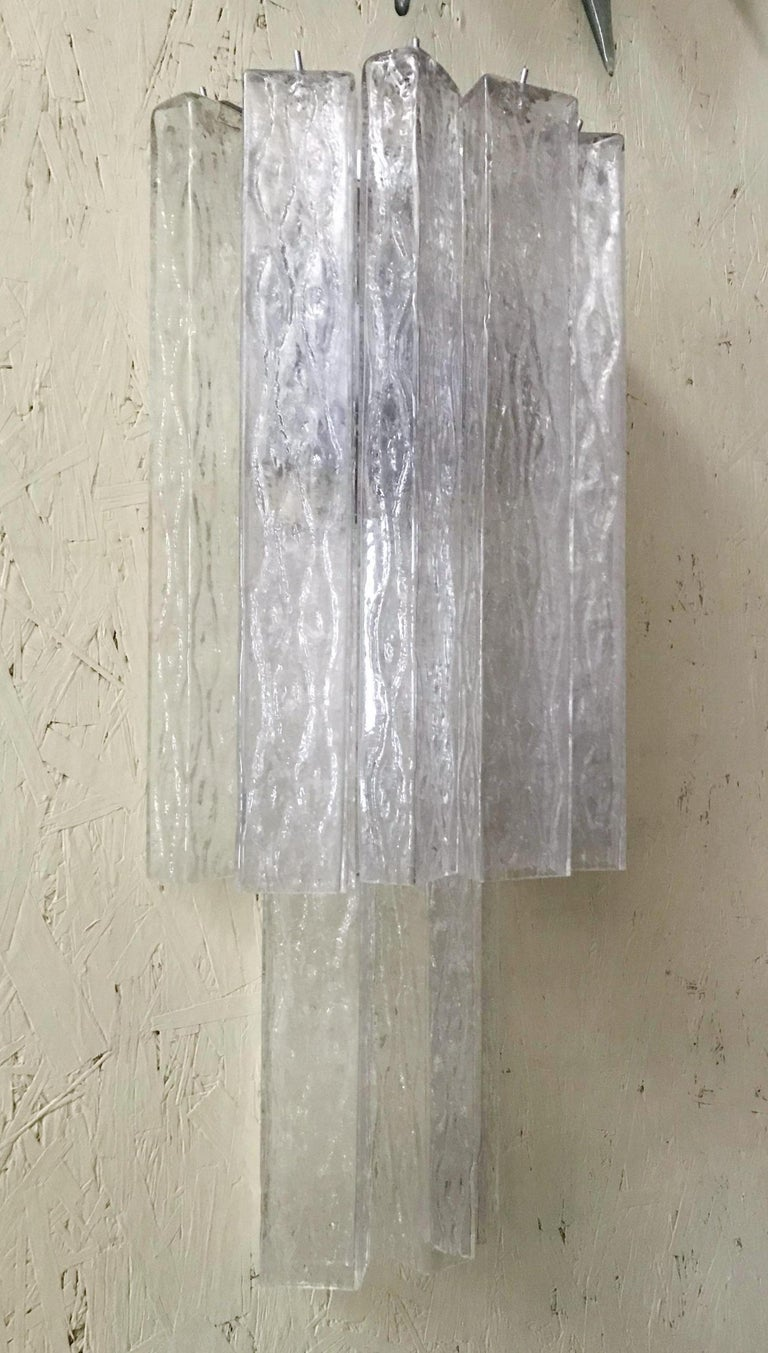 Mid-20th Century Vintage Pair of Italian Sconces w/ Clear Rectangular Murano Glass Cubes, 1960s For Sale