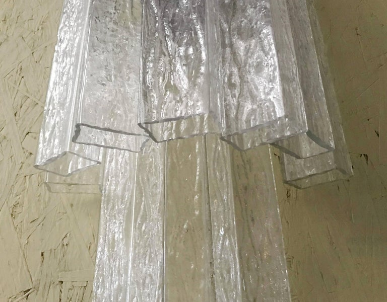 Vintage Pair of Italian Sconces w/ Clear Rectangular Murano Glass Cubes, 1960s For Sale 4