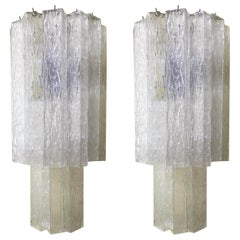 Vintage Pair of Italian Sconces w/ Clear Rectangular Murano Glass Cubes, 1960s