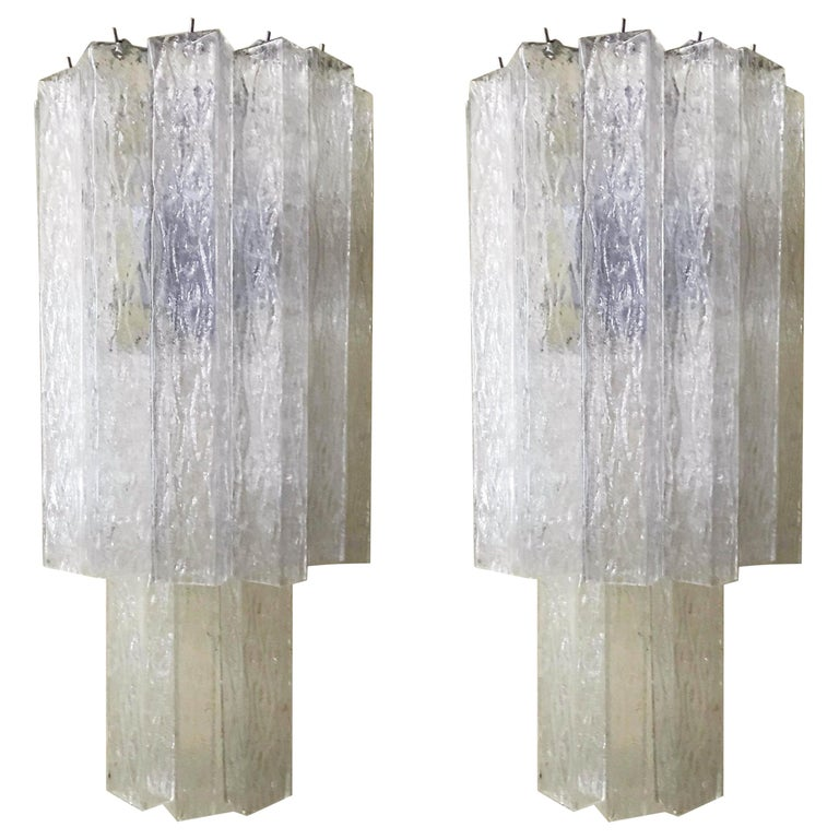 Vintage Pair of Italian Sconces w/ Clear Rectangular Murano Glass Cubes, 1960s For Sale