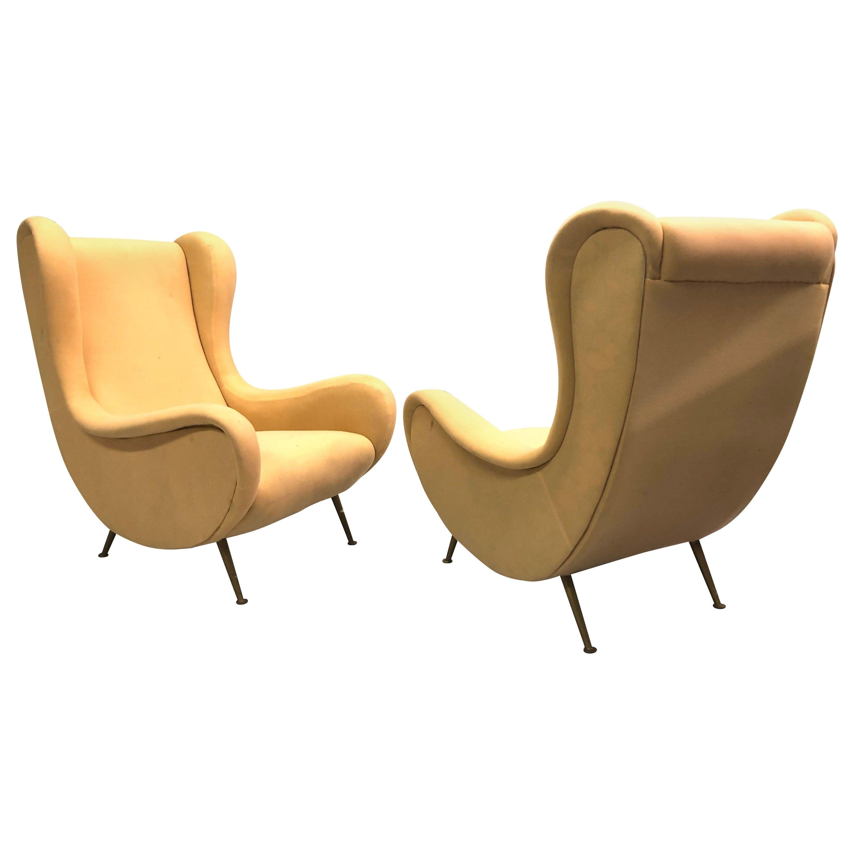 Vintage Pair of Italian 'Senior Chairs' / Lounge Chairs, Marco Zanuso