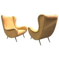 Vintage Pair of Italian 'Senior Chairs' / Lounge Chairs, Marco Zanuso