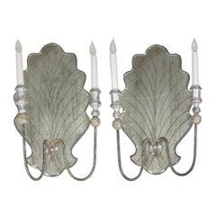 Vintage Pair of Italian Venetian Style Eglomisé Glass Candelabra Wall Sconces