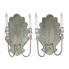 Vintage Pair of Italian Venetian Style Églomisé Glass Candelabra Wall Sconces