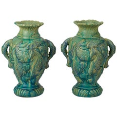 Vintage Pair of Japanese Moulded Carp Pottery Vases, 20th Century