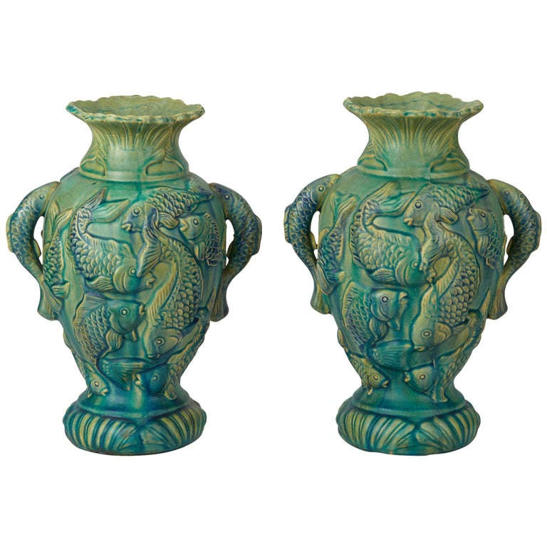 Vintage Pair of Japanese Moulded Carp Pottery Vases, 20th Century For Sale