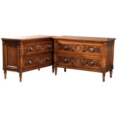 Vintage Pair of Karges Carved Mahogany Commodes, 20th Century