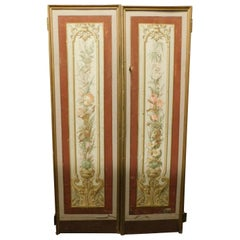 Vintage Pair of Lacquered and Painted Doors, Art Nouveau, Liberty, Early 1900s