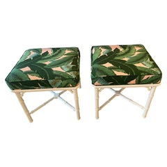 Vintage Pair of Lacquered Faux Bamboo Upholstered Banana Leaf Pink Benches