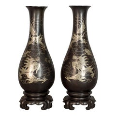 Vintage Pair of Lacquerware Vases, Chinese, 'Bodiless', Stem, Silver on Black