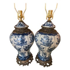 Vintage Pair of Large Blue & White Porcelain Ginger Jar Table Lamps Newly Wired