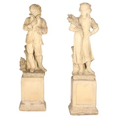 Vintage Pair of Large Dutch Cast Stone Garden Statues of Courting Couple