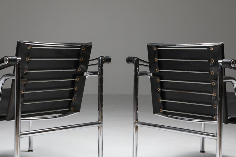 French Vintage Pair of LC2 Le Corbusier, Pierre Jeanneret, Charlotte Perriand