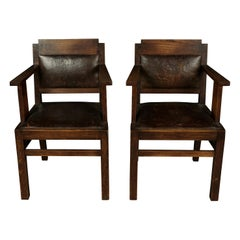 Vintage Pair of Leather and Oak Armchairs from France, circa 1950