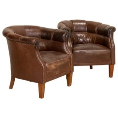 Vintage Pair of Leather Barrel Armchairs Club Chairs, Denmark