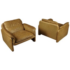 Vintage Pair of Leather DS61 De Sede Lounge Chairs, from Switzerland, circa 1980