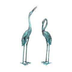 Vintage Pair of Life Size Bronze Cranes with Green Patina Late 20th Century