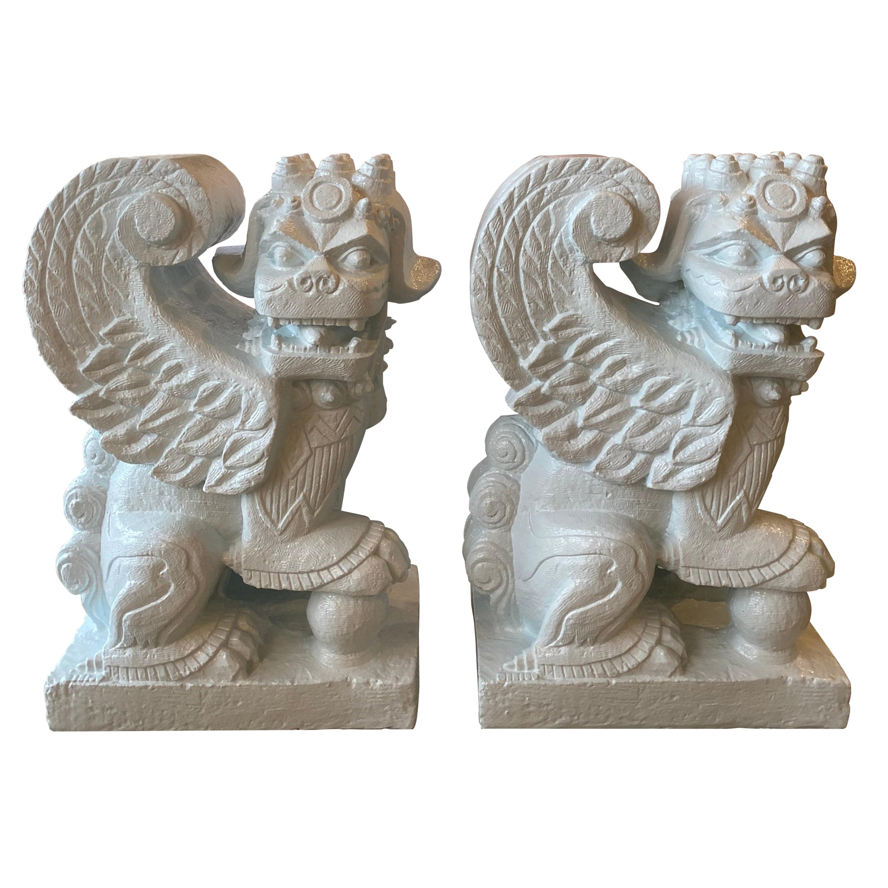 Vintage Pair of Light Blue Foo Dog Plaster Dining Table or Console Table Bases