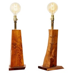 Vintage Pair of Live Edge Wood Table Lamps with Edison Globe Bulbs