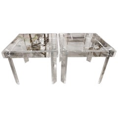 Vintage Pair of Lucite and Glass End Side Tables