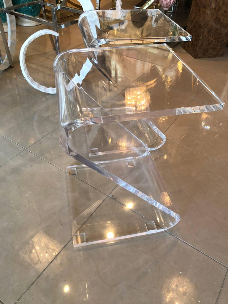 Vintage Pair of Lucite Z End Side Tables For Sale 2