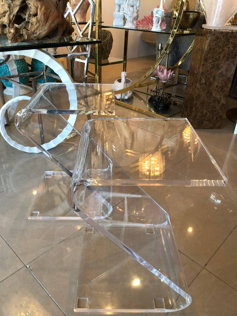 Vintage Pair of Lucite Z End Side Tables For Sale 3