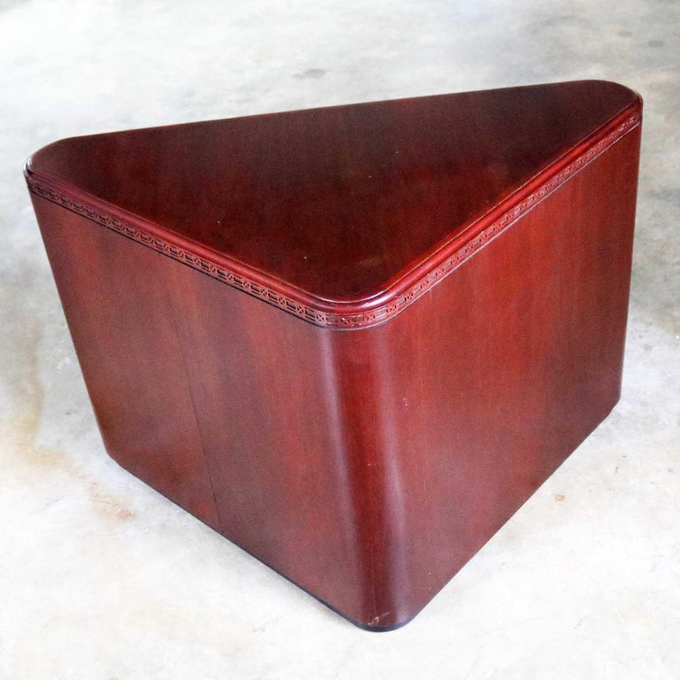 Modern Vintage Pair of Mahogany Triangular End Tables or Pedestals For Sale