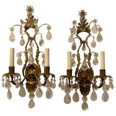 Vintage Pair of Maison Baguès Rock Crystal Gilt Tole Filigree Two-Light Sconces