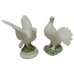 Vintage Pair of Male and Female Porcelain Hand Painted Pigeons