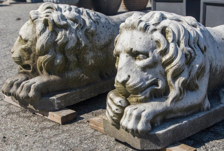 Italian Vintage Pair of Marble Lions For Sale