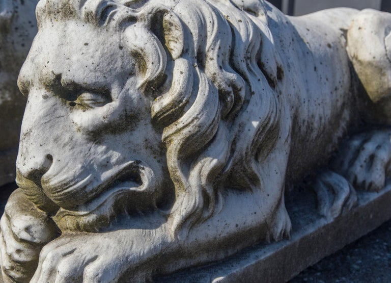 Vintage Pair of Marble Lions For Sale 2