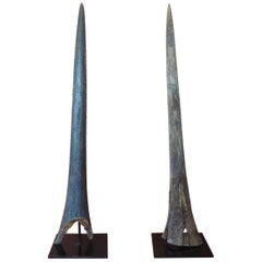 Vintage Pair of Marlin Fish Bills Mounted on Metal Stands from the Bahamas