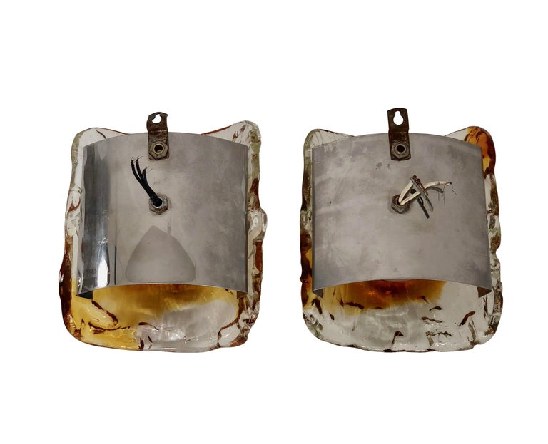 Italian Vintage Pair of Mazzega Amber Murano Glass Wall Sconces, Italy, 1970s For Sale
