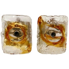 Vintage Pair of Mazzega Amber Murano Glass Wall Sconces, Italy, 1970s