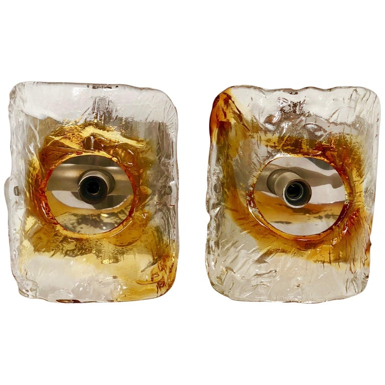 Vintage Pair of Mazzega Amber Murano Glass Wall Sconces, Italy, 1970s For Sale
