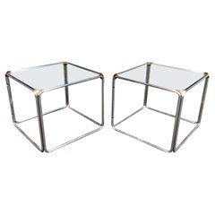 Vintage Pair of Metal and Glass Side Tables