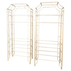 Vintage Pair of Metal Faux Bamboo Pagoda Etageres Newly Powdercoated Shelves