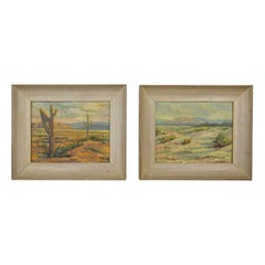 Vintage Pair of Mid-Century California Desert Oil Paintings by H. Meade