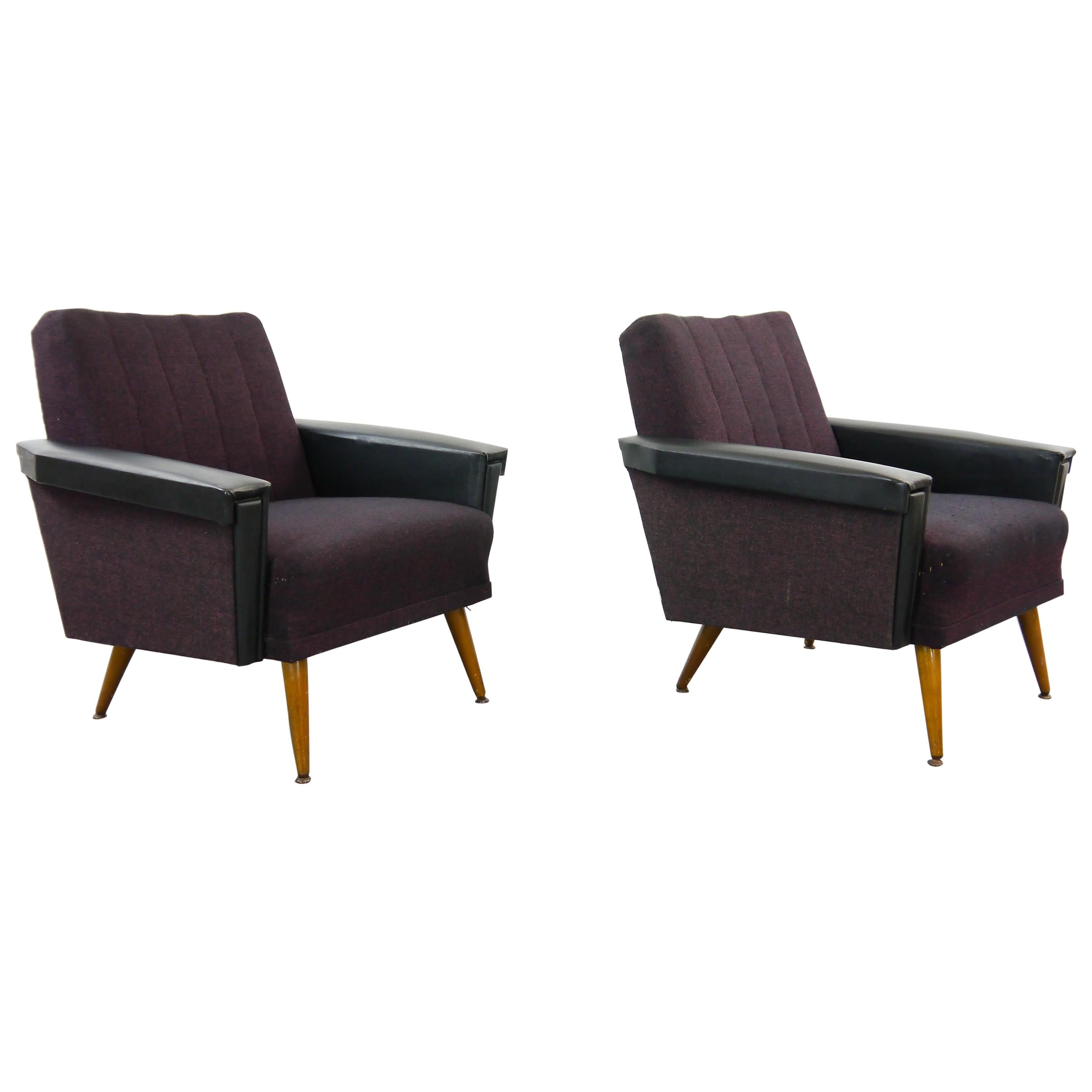 Vintage Pair of Midcentury Cocktail Chairs or Club Chairs in Purple-Black, 1950s
