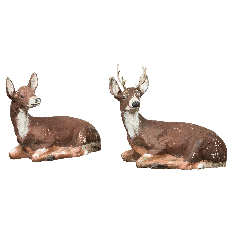Vintage Pair of Midcentury American Deer Sculptures with Weathered Patina