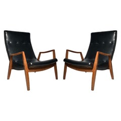 Vintage Pair of Milo Baughman Scoop Lounge Chairs