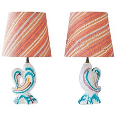 Vintage Pair of Multicolored Zoomorphic Ceramic Table Lamps, France, 1950s