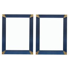 Vintage Pair of Murano Blue Mirrors