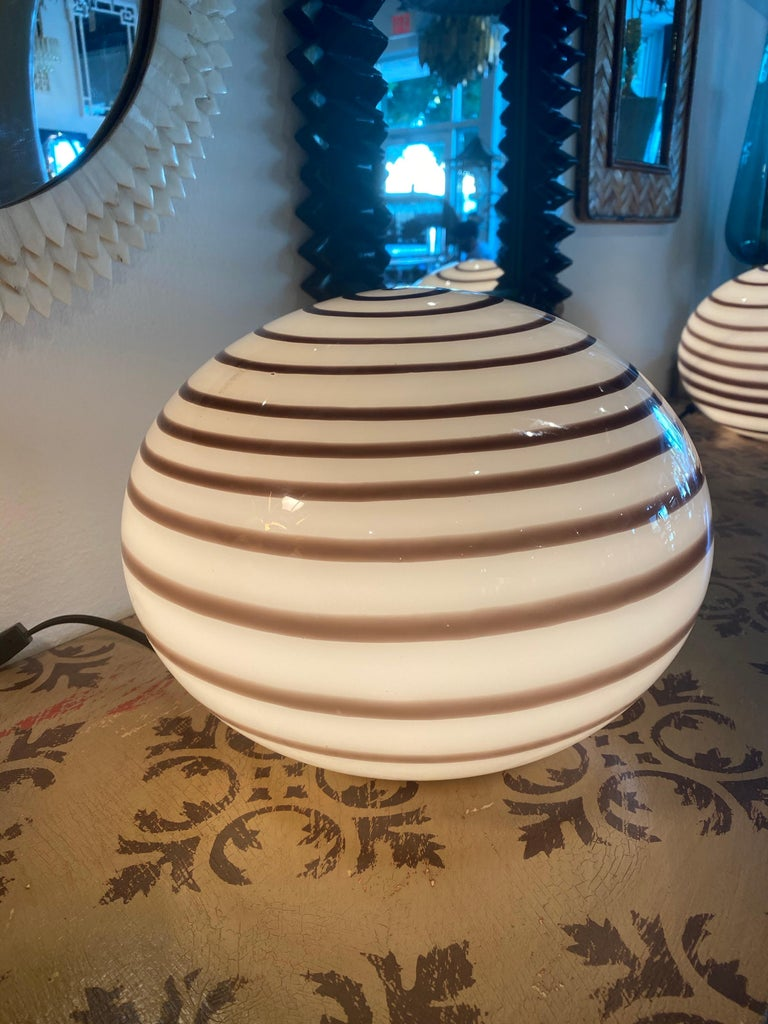 Vintage pair of Murano glass round ball brown swirl table lamps. No chips or breaks.