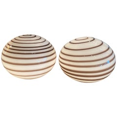 Vintage Pair of Murano Glass Brown Swirl Ball Round Table Lamps