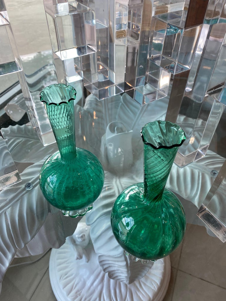 Vintage Pair of Murano Glass Emerald Green Bud Vases For Sale 4